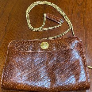 Albert Nipon Brown Quilted Crossover Handbag VTG